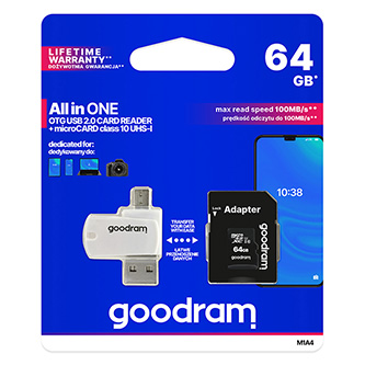 Goodram All-In-ONe, 64GB, multipack, M1A4-0640R12, UHS-I U1 (Class 10), se čtečkou a adaptérem