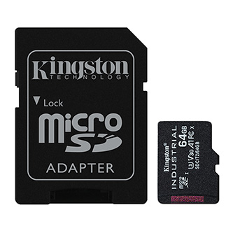 Kingston paměťová karta Industrial C10, 64GB, micro SDxc, SDCIT2/64GB, UHS-I U3 (Class 10), pSLC karta s adaptérem