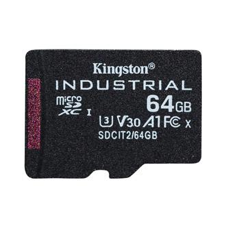 Kingston paměťová karta Industrial C10, 64GB, micro SDXC, SDCIT2/64GBSP, UHS-I U3 (Class 10), pSLC karta