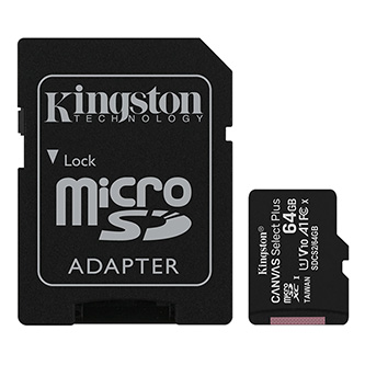 Kingston paměťová karta Canvas Select Plus, 64GB, micro SDXC, SDCS2/64GB, UHS-I U1 (Class 10), s adaptérem, A1