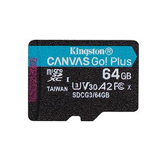 Kingston paměťová karta Canvas Go! Plus, 64GB, micro SDXC, SDCG3/64GBSP, UHS-I U3, bez adaptéru, A2, V30