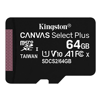 Kingston paměťová karta Canvas Select Plus, 64GB, micro SDXC, SDCS2/64GBSP, UHS-I U1 (Class 10), bez adaptéru, A1