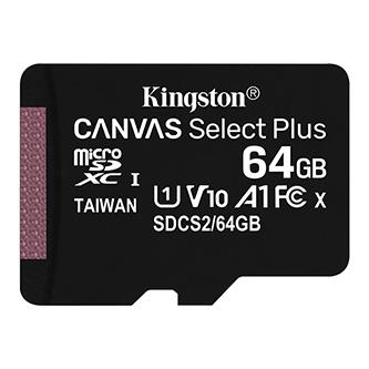 Kingston paměťová karta Canvas Select Plus, 64GB, micro SDXC, SDCS2/64GBSP, UHS-I U1 (Class 10), bez adaptéru, A1