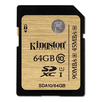 Kingston SDHC UHS-I Ultimate Memory Card, 64GB, SDHC, SDA10/64GB, Ultra High Speed Class 10, pro archivaci dat