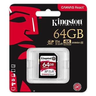 Kingston paměťová karta Canvas React, 64GB, SDXC, SDR/64GB, UHS-I U3