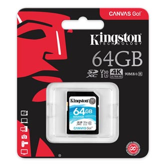 Kingston paměťová karta Canvas Go!, 64GB, SDXC, SDG/64GB, UHS-I U3