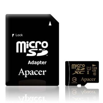 Apacer paměťová karta Secure Digital, 128GB, micro SDXC, AP128GMCSX10U1-R, UHS-I U1 (Class 10), s adaptérem