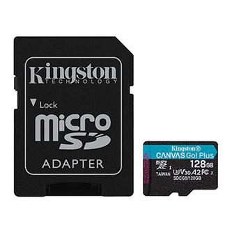 Kingston paměťová karta Canvas Go! Plus, 128GB, micro SDXC, SDCG3/128GB, UHS-I U3, s adaptérem, A2, V30