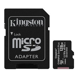 Kingston paměťová karta Canvas Select Plus, 128GB, micro SDXC, SDCS2/128GB, UHS-I U1 (Class 10), s adaptérem, A1