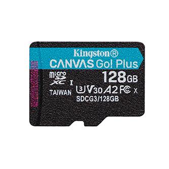 Kingston paměťová karta Canvas Go! Plus, 128GB, micro SDXC, SDCG3/128GBSP, UHS-I U3, bez adaptéru, A2, V30