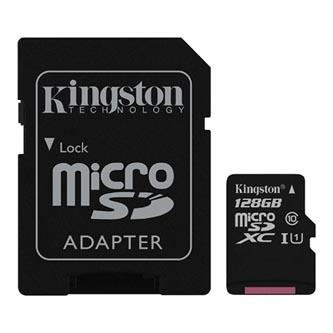 Kingston paměťová karta Canvas Select, 128GB, micro SDXC, SDCS/128GB, UHS-I U1 (Class 10), s adaptérem
