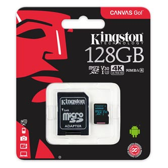 Kingston paměťová karta Canvas Go!, 128GB, micro SDXC, SDCG2/128GB, UHS-I U3, s adaptérem