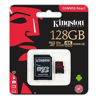 Kingston paměťová karta Canvas React, 128GB, micro SDXC, SDCR/128GB, UHS-I U3, s adaptérem