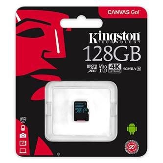 Kingston paměťová karta Canvas Go!, 128GB, micro SDXC, SDCG2/128GBSP, UHS-I U3, bez adaptéru