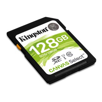 Kingston paměťová karta Canvas Select, 128GB, SDHC, SDS/128GB, UHS-I U1 (Class 10)