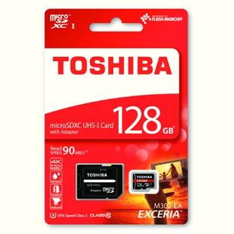 Toshiba paměťová karta micro SDXC, 128GB, micro SDXC, SDU128GSDXCU3M302EATR, UHS-I U1 (Class 10), s adaptérem
