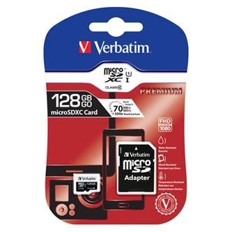 Verbatim paměťová karta micro SDXC, 128GB, micro SDXC, 44085, UHS-I U1 (Class 10), s adaptérem