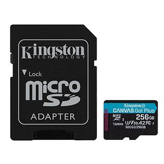 Kingston paměťová karta Canvas Go! Plus, 256GB, micro SDXC, SDCG3/256GB, UHS-I U3, s adaptérem, A2, V30
