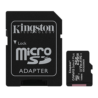 Kingston paměťová karta Canvas Select Plus, 256GB, micro SDXC, SDCS2/256GB, UHS-I U1 (Class 10), s adaptérem, A1