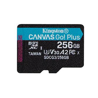 Kingston paměťová karta Canvas Go! Plus, 256GB, micro SDXC, SDCG3/256GBSP, UHS-I U3, bez adaptéru, A2, V30