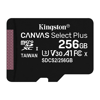 Kingston paměťová karta Canvas Select Plus, 256GB, micro SDXC, SDCS2/256GBSP, UHS-I U1 (Class 10), bez adaptéru, A1