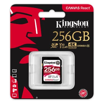 Kingston paměťová karta Canvas React, 256GB, SDXC, SDR/256GB, UHS-I U3