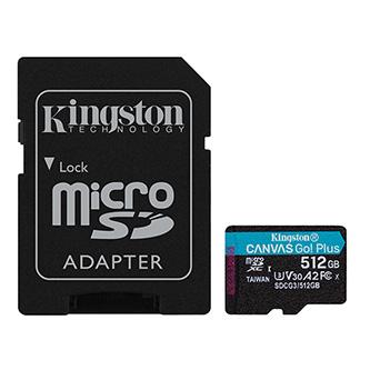 Kingston paměťová karta Canvas Go! Plus, 512GB, micro SDXC, SDCG3/512GB, UHS-I U3, s adaptérem, A2, V30