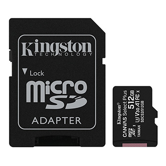 Kingston paměťová karta Canvas Select Plus, 512GB, micro SDXC, SDCS2/512GB, UHS-I U1 (Class 10), s adaptérem, A1