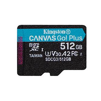 Kingston paměťová karta Canvas Go! Plus, 512GB, micro SDXC, SDCG3/2512GBSP, UHS-I U3, bez adaptéru, A2, V30