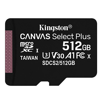 Kingston paměťová karta Canvas Select Plus, 512GB, micro SDXC, SDCS2/512GBSP, UHS-I U1 (Class 10), bez adaptéru, A1