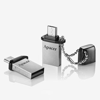 Apacer USB flash disk OTG, 2.0/2.0 Micro, 8GB, AH175, stříbrný, černý, AP8GAH175B-1, s krytkou