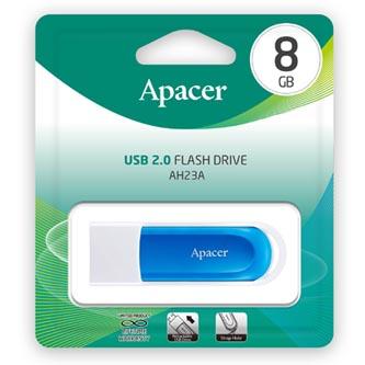 Apacer USB flash disk, 2.0, 8GB, AH23A, modrý, modrá, AP8GAH23AW-1, s vysuvným konektorem a očkem na poutko