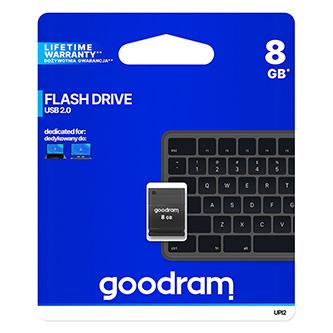 Goodram USB flash disk, 2.0, 8GB, UPI2, černý, UPI2-0080K0R11, podpora OS Win 7