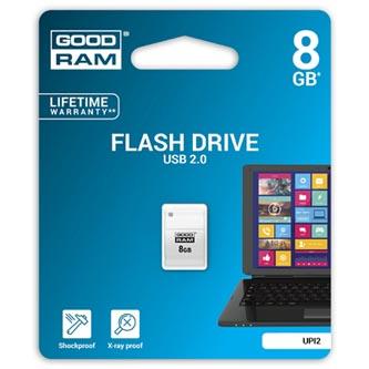 Goodram USB flash disk, 2.0, 8GB, UPI2, bílý, UPI2-0080W0R11, podpora OS Win 7