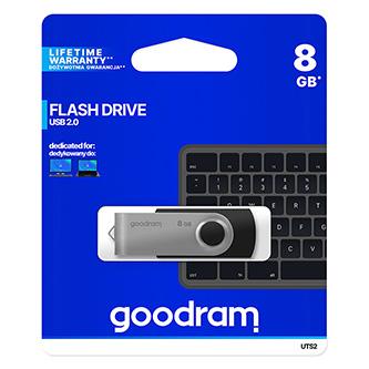 Goodram USB flash disk, 2.0, 8GB, UTS2, černý, UTS2-0080K0R11, podpora OS Win 7