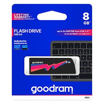 Goodram USB flash disk, 3.0, 8GB, UCL3, černý, UCL3-0080K0R11, podpora OS Win 7, nové papírové balení