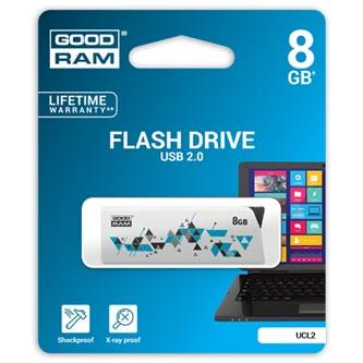 Goodram USB flash disk, 2.0, 8GB, UCL2, bílý, UCL2-0080W0R11, podpora OS Win 7