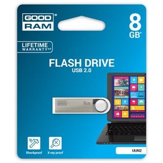 Goodram USB flash disk, USB 2.0, 8GB, UUN2, stříbrný, UUN2-0080S0R11, USB A, s poutkem
