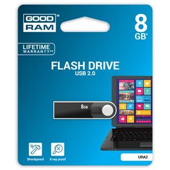 Goodram USB flash disk, 2.0, 8GB, URA2, černý, URA2-0080K0R11, podpora OS Win 7, nové papírové balení