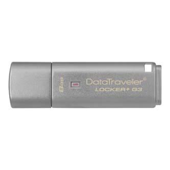 Kingston USB flash disk, USB 3.0 (3.2 Gen 1), 8GB, Data Traveler Locker+ G3, stříbrný, DTLPG3/8GB, USB A, s krytkou