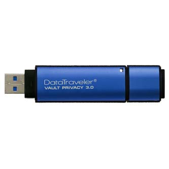 Kingston USB flash disk, 3.0, 8GB, Data Traveler Vault Privacy, modrý, DTVP30/8GB