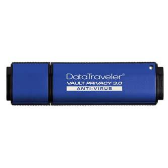 Kingston USB flash disk, 3.0, 8GB, Data Traveler Vault Privacy Anti-Virus, modrý, DTVP30AV/8GB