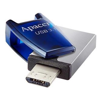 Apacer USB flash disk OTG, USB 3.0 (3.2 Gen 1), 16GB, AH180, červený, AP16GAH180R-1, USB A / USB C, s otočnou krytkou