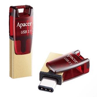 Apacer USB flash disk, USB 3.0 (3.2 Gen 1), 16GB, AH15A, stříbrný, AP16GAH15AA-1, USB A, s karabinkou