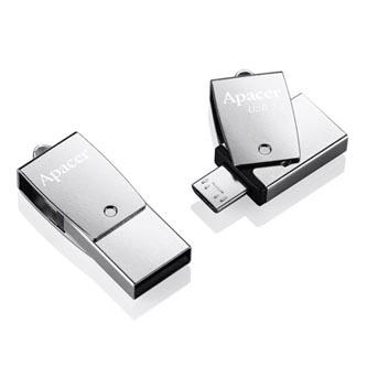 Apacer USB flash disk OTG, USB 3.0 (3.2 Gen 1), 16GB, AH750, stříbrný, AP16GAH750S-1, USB A / USB Micro B, s otočnou krytkou