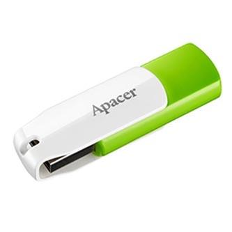 Apacer USB flash disk, 2.0, 16GB, AH335, bílý, zelený, AP16GAH335G-1, s otočnou krytkou