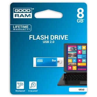 Goodram USB flash disk, USB 2.0, 16GB, UCU2, černý, UCU2-0160K0R11, USB A, s otočnou krytkou