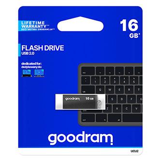 Goodram USB flash disk, USB 3.0 (3.2 Gen 1), 16GB, UPO3, stříbrný, UPO3-0160S0R11, USB A, s poutkem