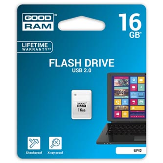 Goodram USB flash disk, 2.0, 16GB, UPI2, bílý, UPI2-0160W0R11, podpora OS Win 7