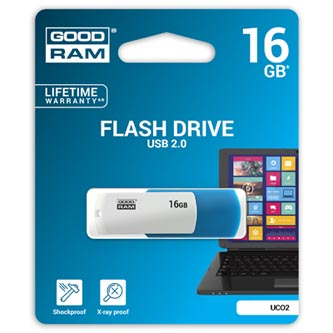Goodram USB flash disk, 2.0, 16GB, UCO2, modrý, UCO2-0160MXR11, podpora OS Win 7